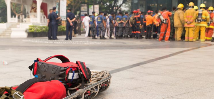 Photo of a disaster drill in progress.